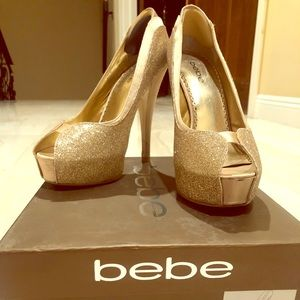 Bebe Gold Glitter Peep Toe